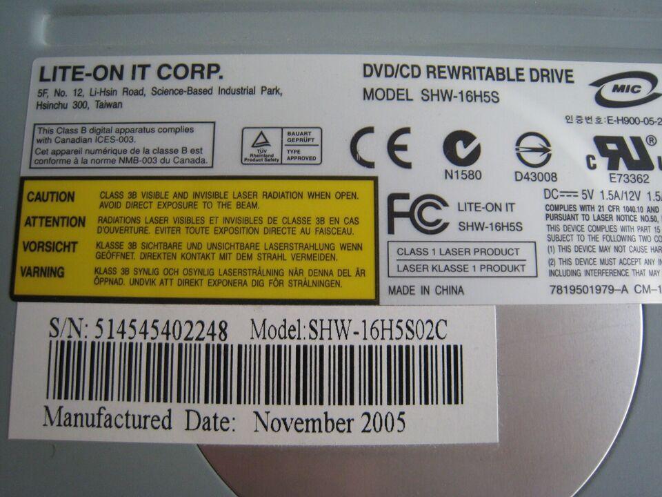 DVD/CD rewritabel drive, Lite-on, Perfekt