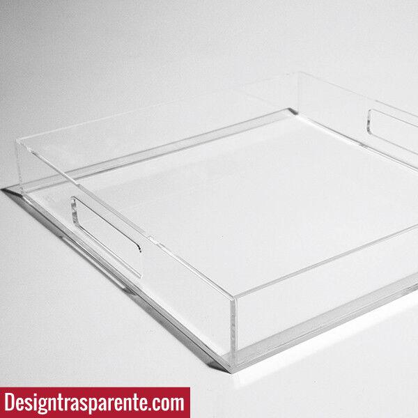 Vassoio moderno in Plexiglass Trasparente  40x40 cm - da colazione letto_