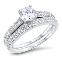 Ladies Sterling Silver 925 Vintage Round Cz Engagement Ring Wedding Ring Set