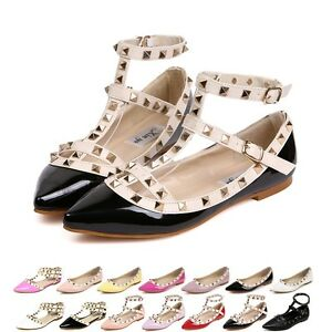 Image is loading Women-Girl-Strap-Studded-Rivet-Metal-Flat-Pointed-