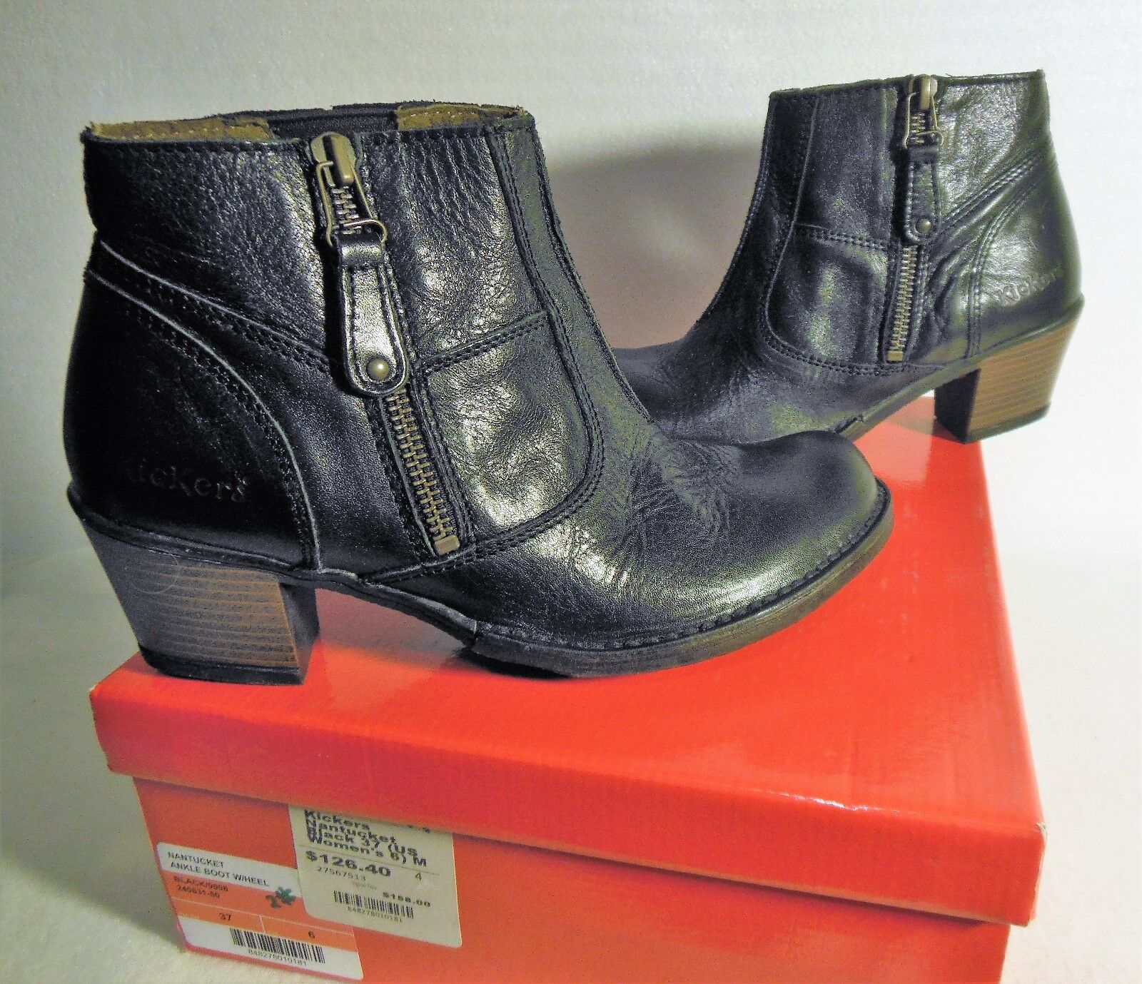 NIB Women's Black Kickers Nantucket Ankle Boot Size 6 M  (37)  MSRP 158