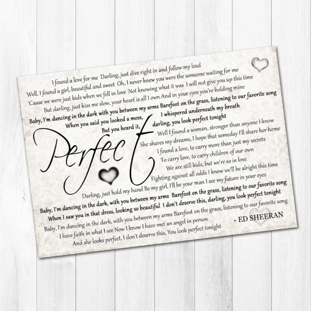 Ed Sheeran Perfect A4 Print Divide Song Lyrics Gift Wedding Al Valentines