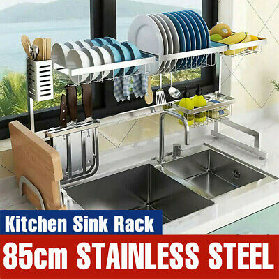 Over Sink Dish Drying Rack Stainless Steel Cutlery Drainer Kitchen Shelf US