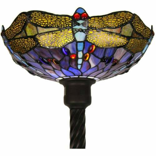 Dragonfly Torchiere Stained Glass Copper Glass Metal Base Floor Lamp 72 in