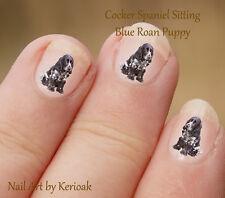 COCKER Spaniel Puppy seduta, 24 Unique Designer DOG NAIL ART ADESIVI DECALCOMANIE