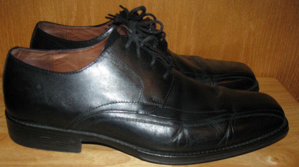 JOHNSTON & MURPHY MENS BLACK LEATHER DRESS TIE SHOES SZ 13M - EUC