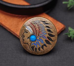 Antique-Brass-Southeast-Ethnic-Indian-Head-Turquoise-Leathercraft-Belt-Conchos