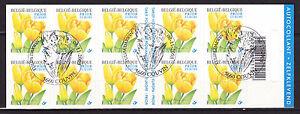 Belgique-Carnet-de-2003-adhesif-oblit-1er-jour-Tulipe-Jaune