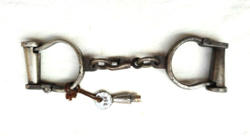 Old Vintage Antique Handcrafted Heavy Iron Nickel Lock Key Handcuffs Collectible
