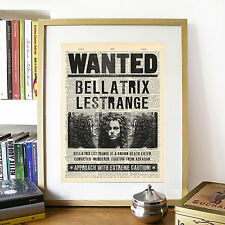 Harry Potter, Bellatrix Lestrange Wanted Mock Dictionary Page Art Print Poster.