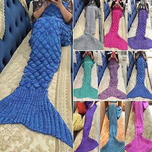 Mermaid Tail Soft Blanket Handmade Crocheted Knit Sofa Rug Adult Kids Xmas Gift