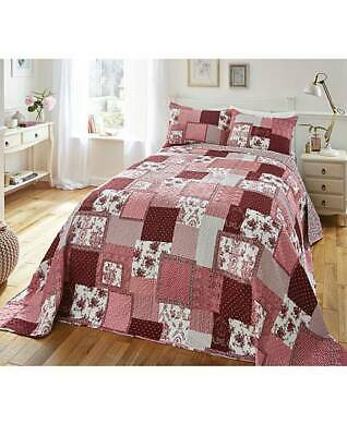 Patchwork Quilted Comfy Bedspread Bedding Set Embroidered Throw Super King B26