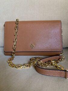 Nwt 295 Tory Burch Emerson Robinson Flat Chain Saffiano Leather Wallet Clutch Ebay