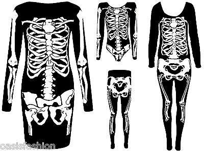 NEW LADIES HALLOWEEN SKELETON PRINT BODYSUIT TUNIC DRESS LEGGINGS UK 8-26