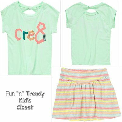 NWT Crazy 8 POOLSIDE BRIGHT Girls Size 5-6 Skirt Skort /& Tee Shirt Top 2-PC SET