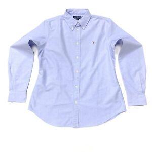 Ralph-Lauren-Femme-Slim-Oxford-Shirt-Dans-Bleu-Clair-Taille-L
