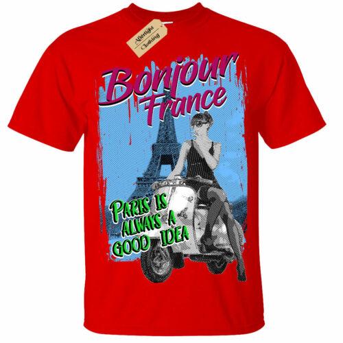 Bonjour France T-Shirt Eiffel tower paris holiday french Parisian mens