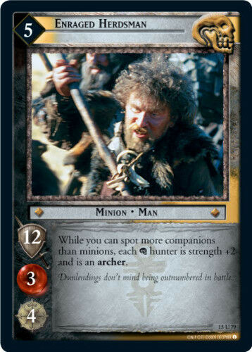 LOTR The Hunters Lord of the Rings TCG Decipher Enraged Herdsman Ungraded
