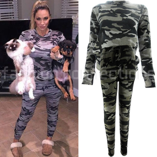 NEW WOMENS ACTIVE LOUNGE WEAR TRACK JOGGING SUIT CELEB PJS PANTS TOP SIZE ARMY