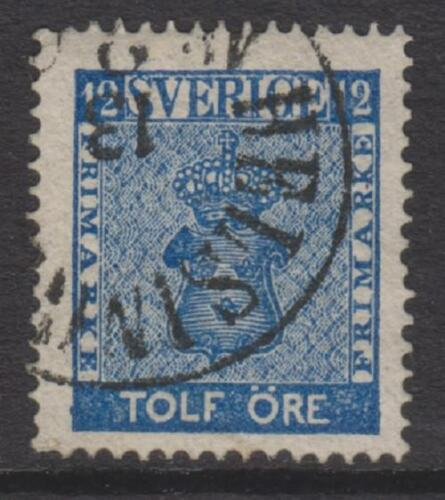 Sweden 185872, 12 ore Deep Blue stamp FU SG 8