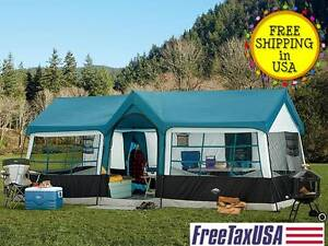 Image is loading C&ing-Blue-Instant-Family-Cabin-3-Room-Large- & Camping Blue Instant Family Cabin 3 Room Large Sealed Tent 12 ...