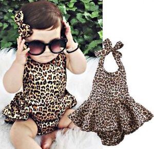 cf8385e92a0a Newborn kids Leopard Print Romper Infant Baby Girls backless Floral ...
