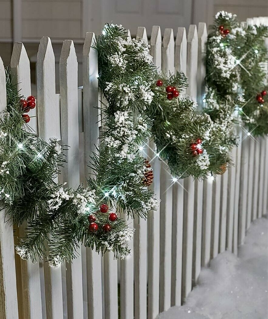 9 Ft Lighted Garland Porch Patio Fence Indoor Outdoor Christmas Holiday Decor