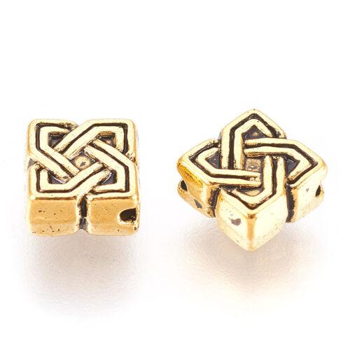 100pc Tibetan Alloy Bead Texture Rhombus Antique Golden Loose Spacer Jewelry 7mm