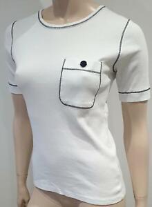 scollo T Seward con bianco 38 in a corta girocollo manica Vanessa tondo Uk10 cotone shirt qnq7zRF