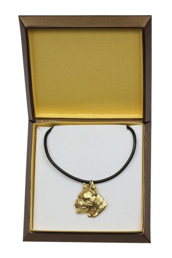 Boxer tedesco - collana rivestita in gold in una scatola, Art Dog IT
