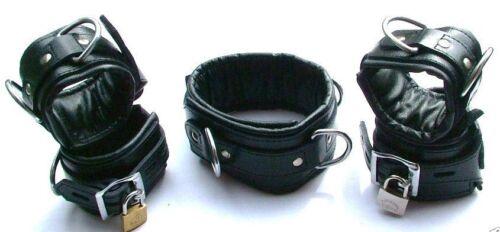 5 PEZZI nero vera pelle resistente set di ritenuta bondage imbottito