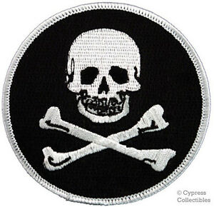 Embroidered Fox Cross Bones Pirate Flag Sew or Iron on Patch Biker Patch