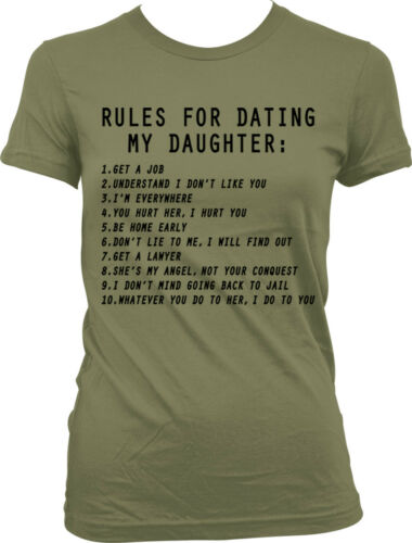 Rules For Dating My Daughter Funny Mom Mother Humor Meme Famous Juniors T-shirt