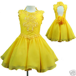 INFANT & GIRL NATIONAL PAGEANT FORMAL PARTY SHORT DRESS YELLOW 1-7 YEARS OLD