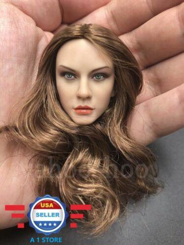 """1//6 Female Head Sculpt cheveux bruns CT012A pour 12/"""" femelle poupée Bronzage PHICEN"""