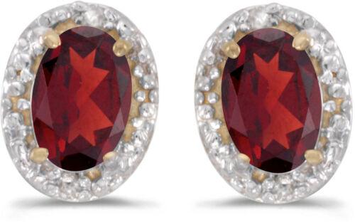 CM-E2615X-01 14k Yellow Gold Oval Garnet /& Diamond Earrings