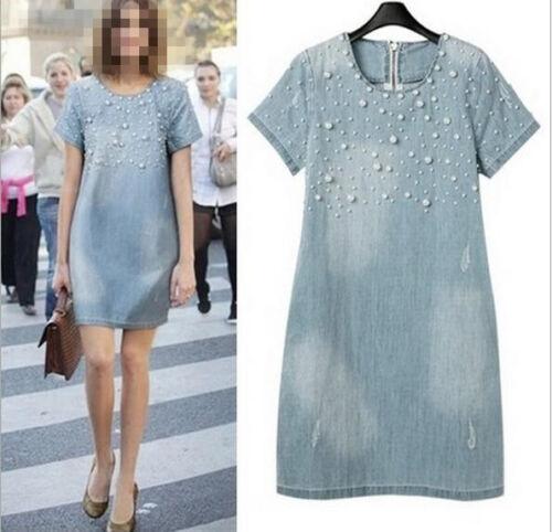 Womens 2018 New Fahsion Pearls Short Sleeve Denim A-Line Tunic Loose Dress