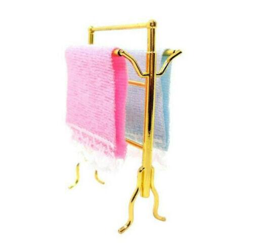 1:12 Dollhouse Miniature Furniture Bathroom Washing Room Towels Rack 3Pcs Set ~