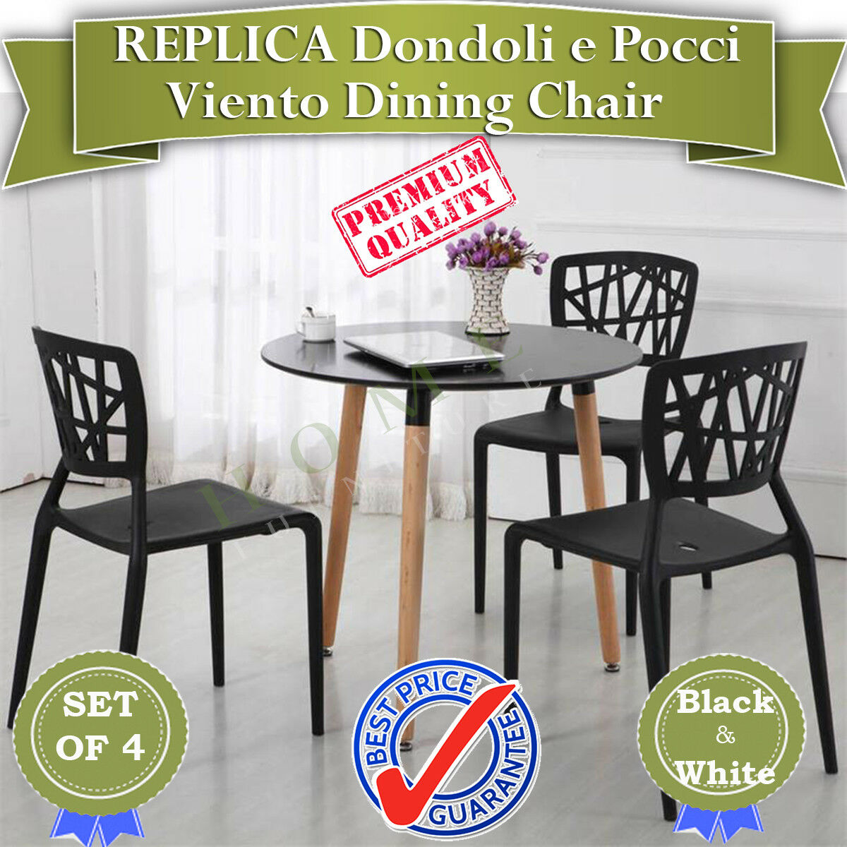 Surprising Details About Brand New Set Of 4 Replica Dondoli E Pocci Viento Black And White Dining Chair Gmtry Best Dining Table And Chair Ideas Images Gmtryco