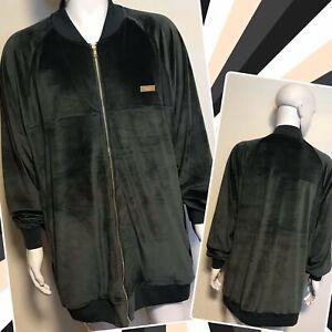 luxury HUSTLE GANG men's knit velour zip track jacket grey