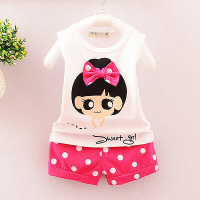 baby Girls clothes cotton summer Top tee +short pants kids girl outfits sweet