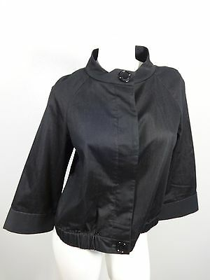 ANNE KLEIN WOMENS DARK WASH STRETCH DENIM LOOK JACKET SIZE 10
