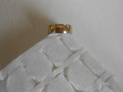 Bague anneau acier inoxydable titane  doré  /& bord argenté