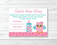 Pink Owl Printable Baby Shower guess How Many? Game Cards