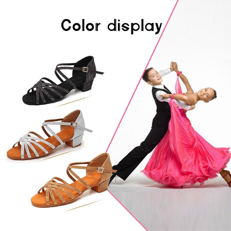 Girls Kids Ballroom Latin Tango Dance Shoes Low Heeled Salsa Soft Dancing Shoes