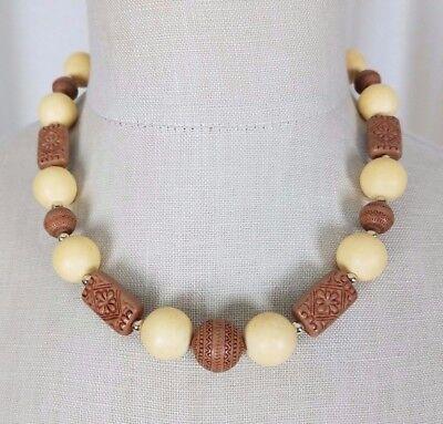 Uhren & Schmuck Ethnisch Tribal Holz Knochen Look Geätzt Perlen Halskette Prinzessin Choker Schrumpffrei