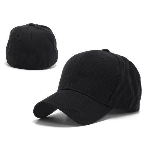 Details about Black Fitted Curved Bill Plain Solid Blank Baseball Cap Caps  Hat Hats - 8 SIZES 8387b71d336