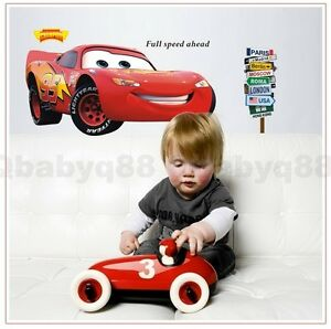 Giant disney pixar car mcqueen removable wall sticker for Disney pixar cars wall mural