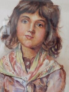 Original-Art-Picture-Watercolour-portrait-young-peasant-girl-wearing-a-shawl
