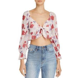 Endless-Rose-Womens-Pink-Floral-Print-Bishop-Sleeves-Crop-Top-L-BHFO-0684
